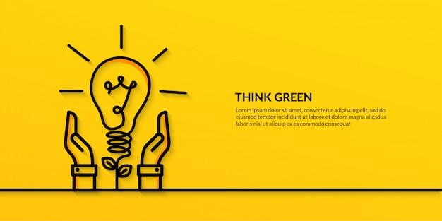 Salvare il mondo con la mano che tiene la lampadina, banner ecologia natura piatta Vettore Premium