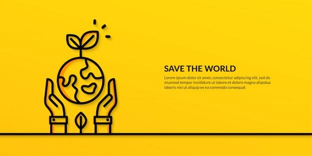 Salvare il mondo con le mani che tengono la terra, banner ecologia natura piatta Vettore Premium