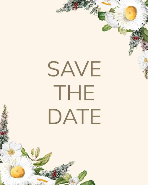Salvare il vettore di scheda mockup invito matrimonio data Vettore gratuito
