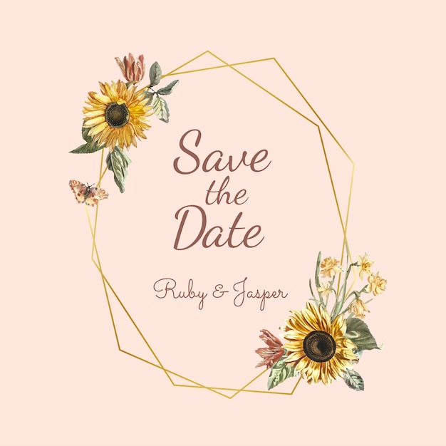 Salvare il vettore mockup di invito matrimonio data Vettore gratuito