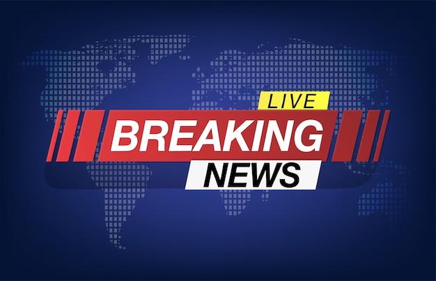 Salvaschermo di sfondo su ultime notizie. ultime notizie in diretta sullo sfondo della mappa del mondo. Vettore Premium