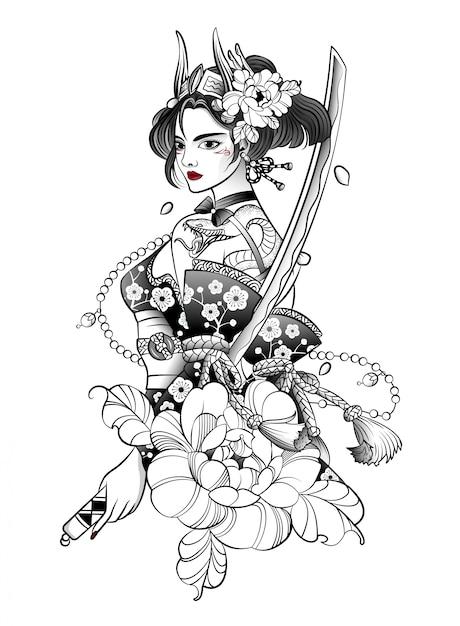 Samurai giapponese donna con una grande spada Vettore Premium