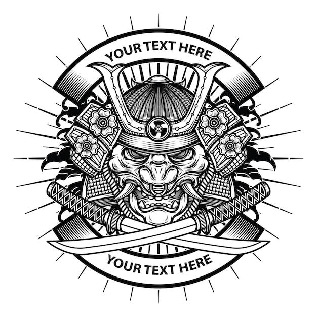 Samurai maschera hannya Vettore Premium