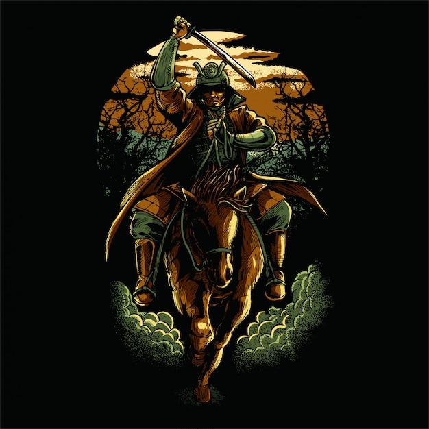 Samurai versione colorata Vettore Premium