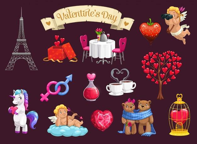San valentino amore cuori, regali romantici, amorini Vettore Premium
