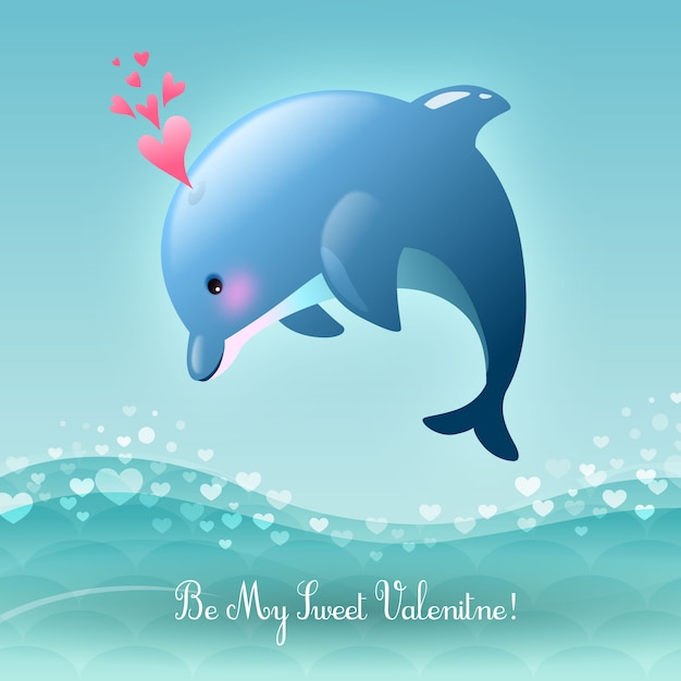 San valentino be my valentine dolce illustrazione leaping dolphin vector Vettore gratuito