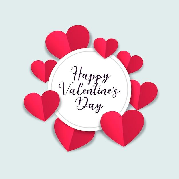San valentino con cuori di carta Vettore gratuito