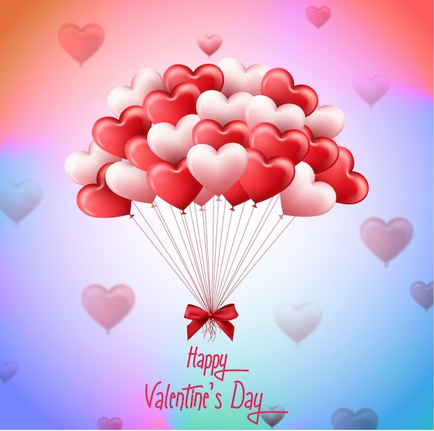 San valentino con un mazzo di palloncini cuore rosa e rosso Vettore Premium