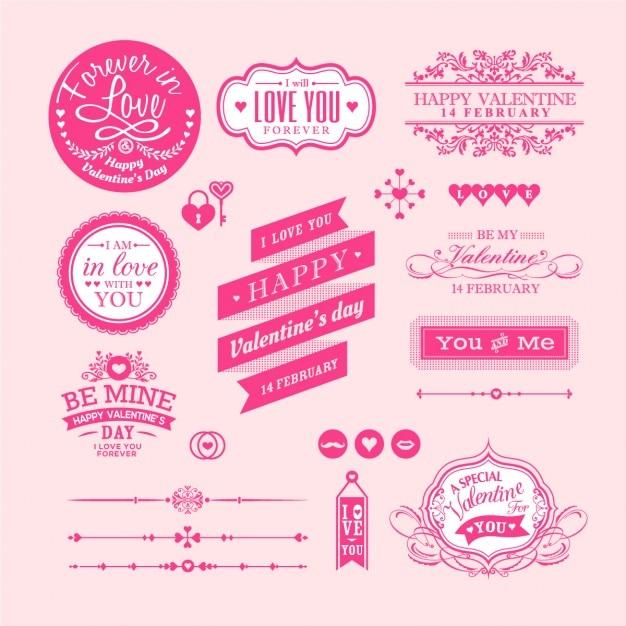 San valentino elementi etichette e cornici vintage style Vettore gratuito
