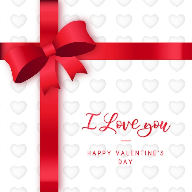 San valentino moderno con nastro rosso Vettore gratuito