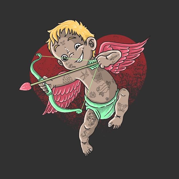 San valentino personaggio cupido carino angelo amore illustrazione vettoriale Vettore Premium