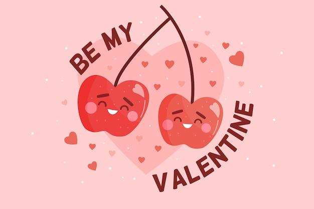 San valentino sfondo con ciliegie Vettore gratuito