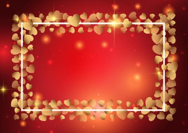 San valentino sfondo con cornice cuore d'oro Vettore gratuito