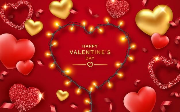 San valentino sfondo con cuori rossi e dorati, nastri, luci e testo Vettore Premium