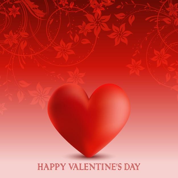 San valentino sfondo con fiori e cuore Vettore gratuito