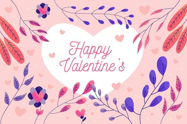 San valentino sfondo con foglie colorate Vettore gratuito