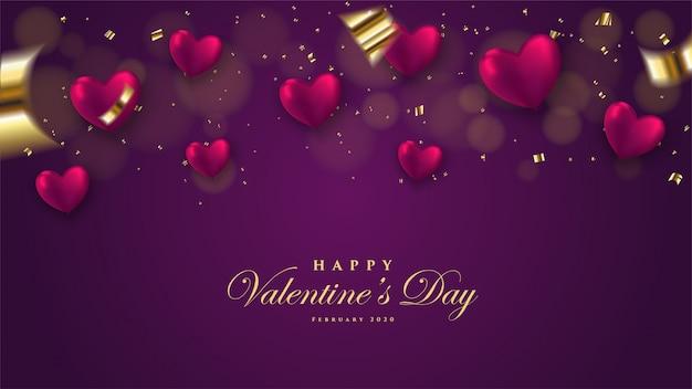 San valentino sfondo con palloncino 3d a forma di amore illustrazione su uno sfondo scuro. Vettore Premium