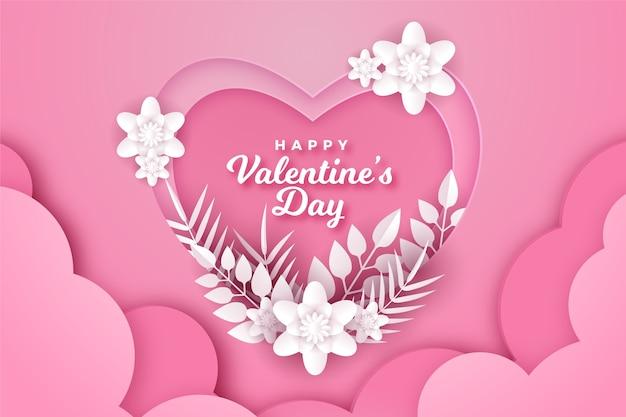 San valentino sfondo in stile carta Vettore gratuito