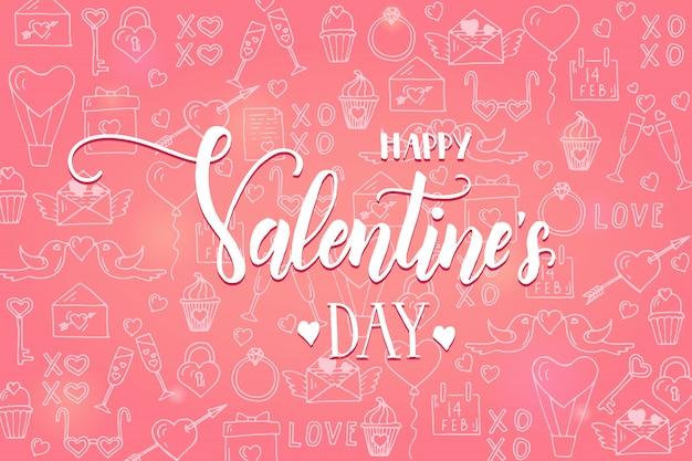 San valentino sfondo sul modello rosa con disegnati a mano linea d'amore simboli di arte. Vettore Premium