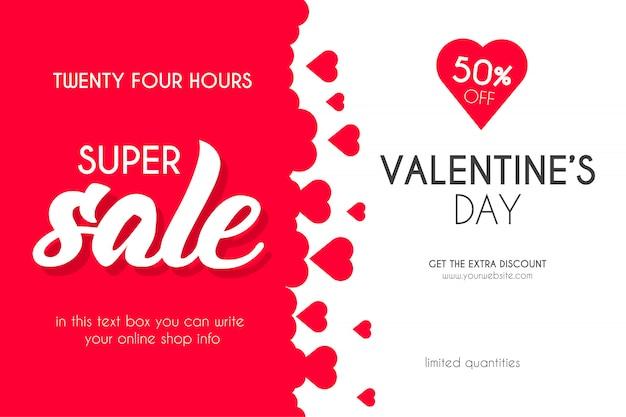 San valentino super vendita con sfondo di cuori Vettore gratuito
