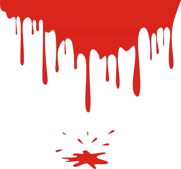Sangue gocciolante isolato su bianco Vettore Premium