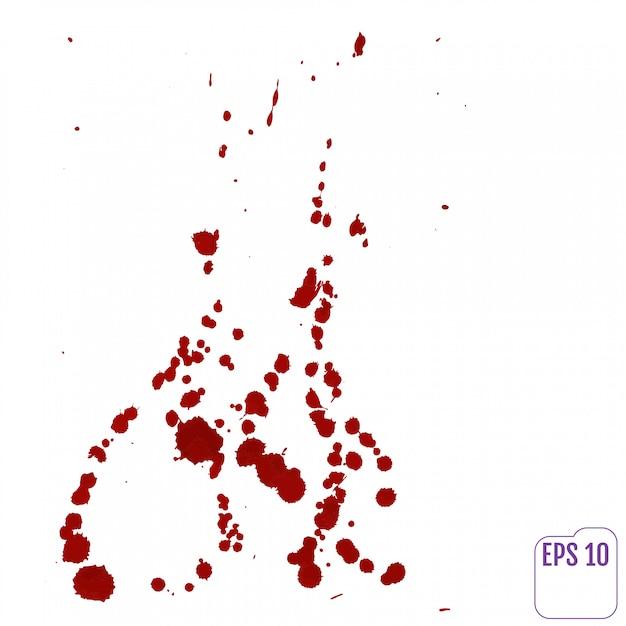 Sangue gocciolante isolato su bianco. Vettore Premium