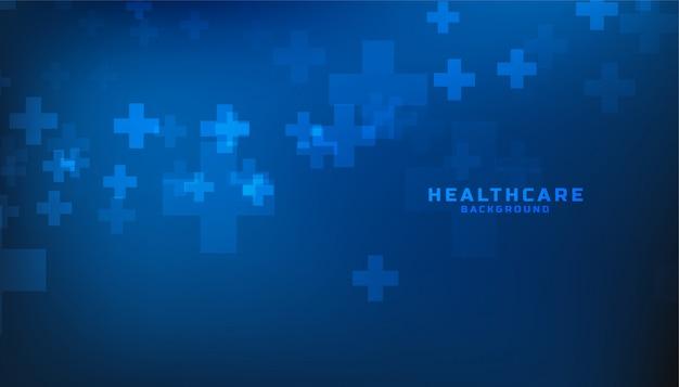 Sanità blu e fondo medico con il segno più Vettore gratuito