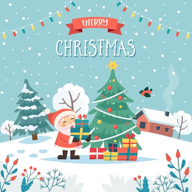Santa con regali di natale auguri di buon natale con testo. Vettore Premium