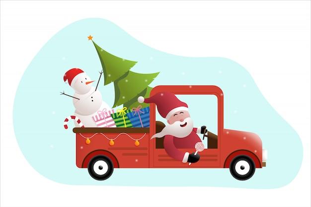 Santa e pupazzo di neve che guidano l'automobile rossa di natale con il regalo e l'albero di pino della scatola Vettore Premium