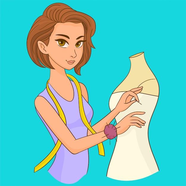 Sarta che indossa un abito su un manichino Vettore Premium