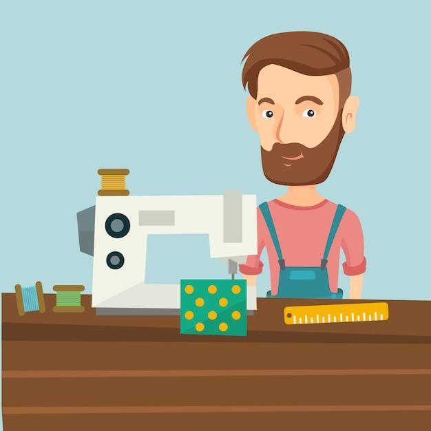 Sarta utilizzando la macchina da cucire in officina. Vettore Premium