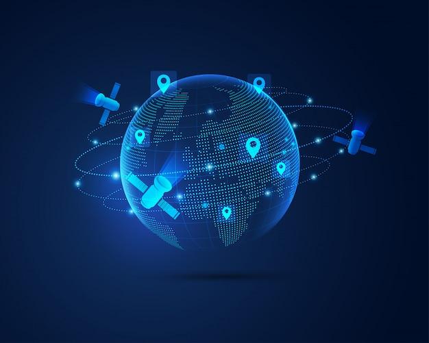 Satellite globale Vettore Premium