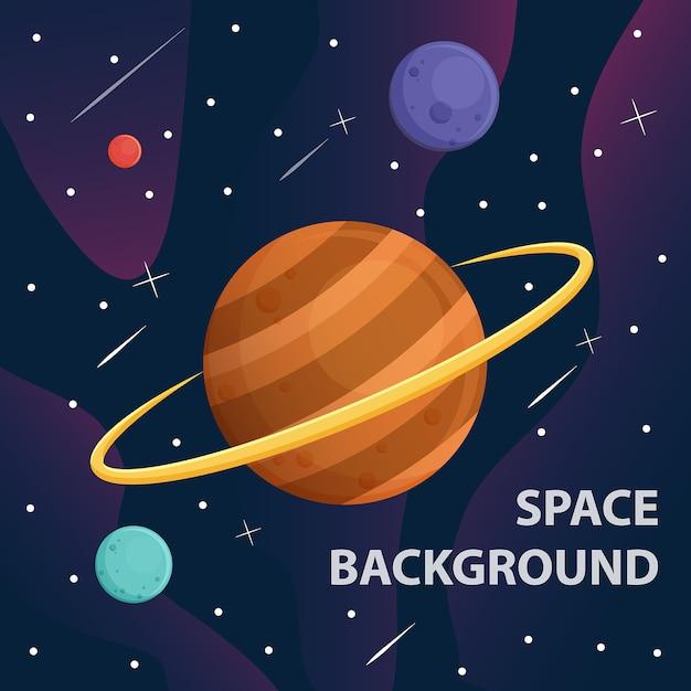 Saturno e pianeta nella galassia spaziale Vettore Premium