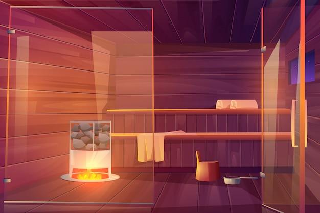 Sauna stanza vuota con porte in vetro Vettore gratuito