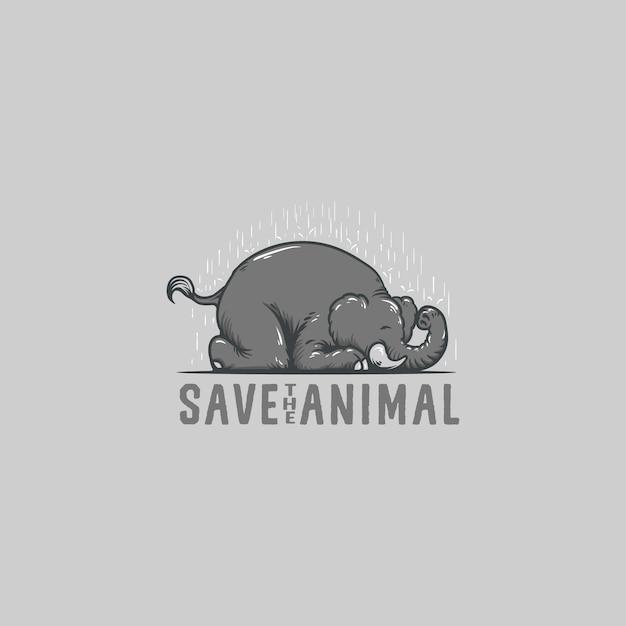 Save elephant animal logo illustration Vettore Premium