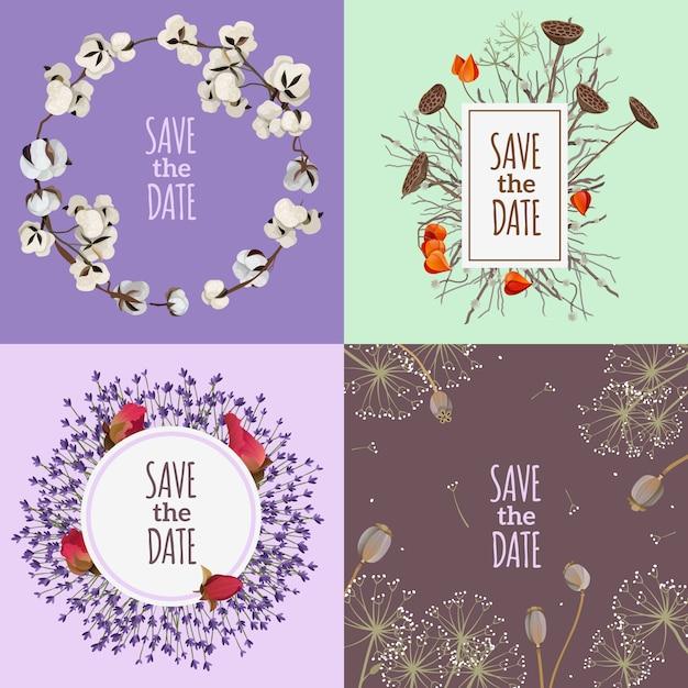 Save the date 2x2 design concept Vettore gratuito