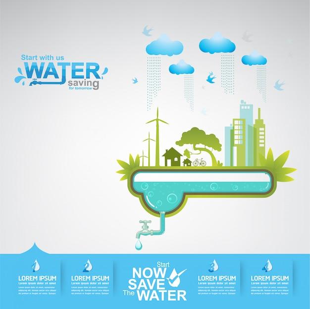 Save the water concept l'acqua è vita Vettore Premium