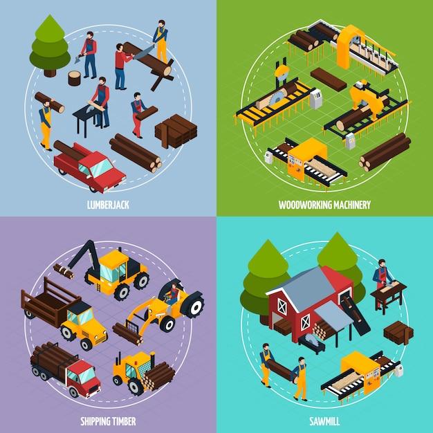 Sawmill isometric design concept Vettore gratuito