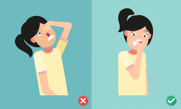 Sbagliato e giusto per il primo soccorso per l'emorragia nasale Vettore Premium