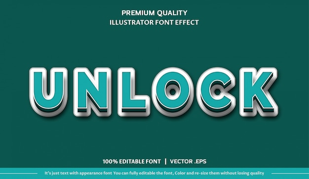 Sblocca l'effetto carattere Vettore Premium