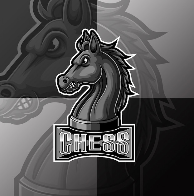 Scacchi neri cavaliere cavallo mascotte e sport logo design Vettore Premium