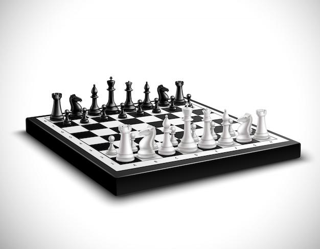 Scacchiera realistica con 3d figure in bianco e nero impostato Vettore gratuito