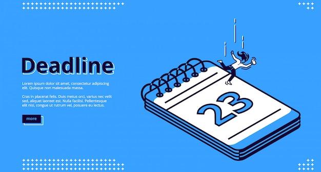 Scadenza, landing page isometrica di gestione del tempo Vettore gratuito