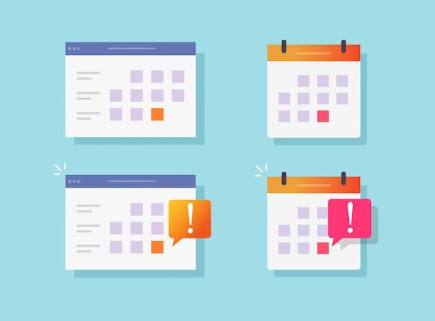 Scadenza promemoria evento notifica sul calendario o sito web avviso icone piane del fumetto di vettore messe Vettore Premium