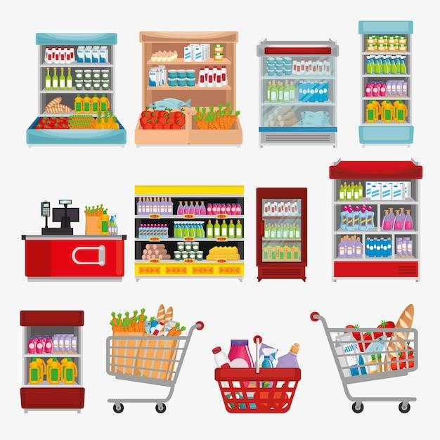 Scaffalature di supermercati con prodotti Vettore Premium