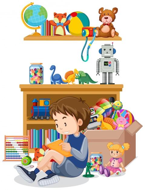 Scaffale e scatola in pieno di giocattoli su bianco Vettore gratuito