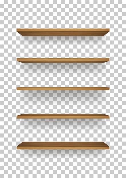 Scaffale in legno su sfondo trasparente. Vettore Premium