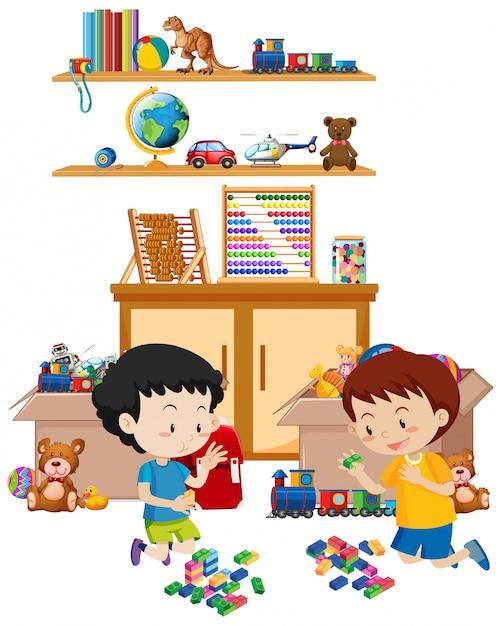 Scaffale pieno di libri e giocattoli isolati Vettore gratuito