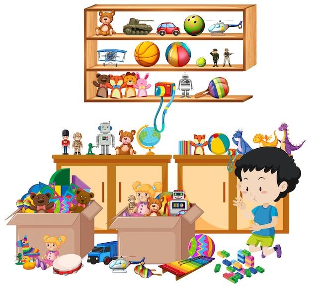 Scaffale pieno di libri e giocattoli Vettore gratuito