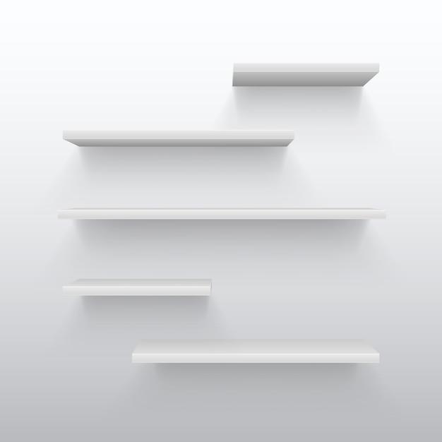 Scaffalature In Legno Per Libri.Scaffali Commerciali Bianchi Vuoti 3d Con Ombra Sulla Parete